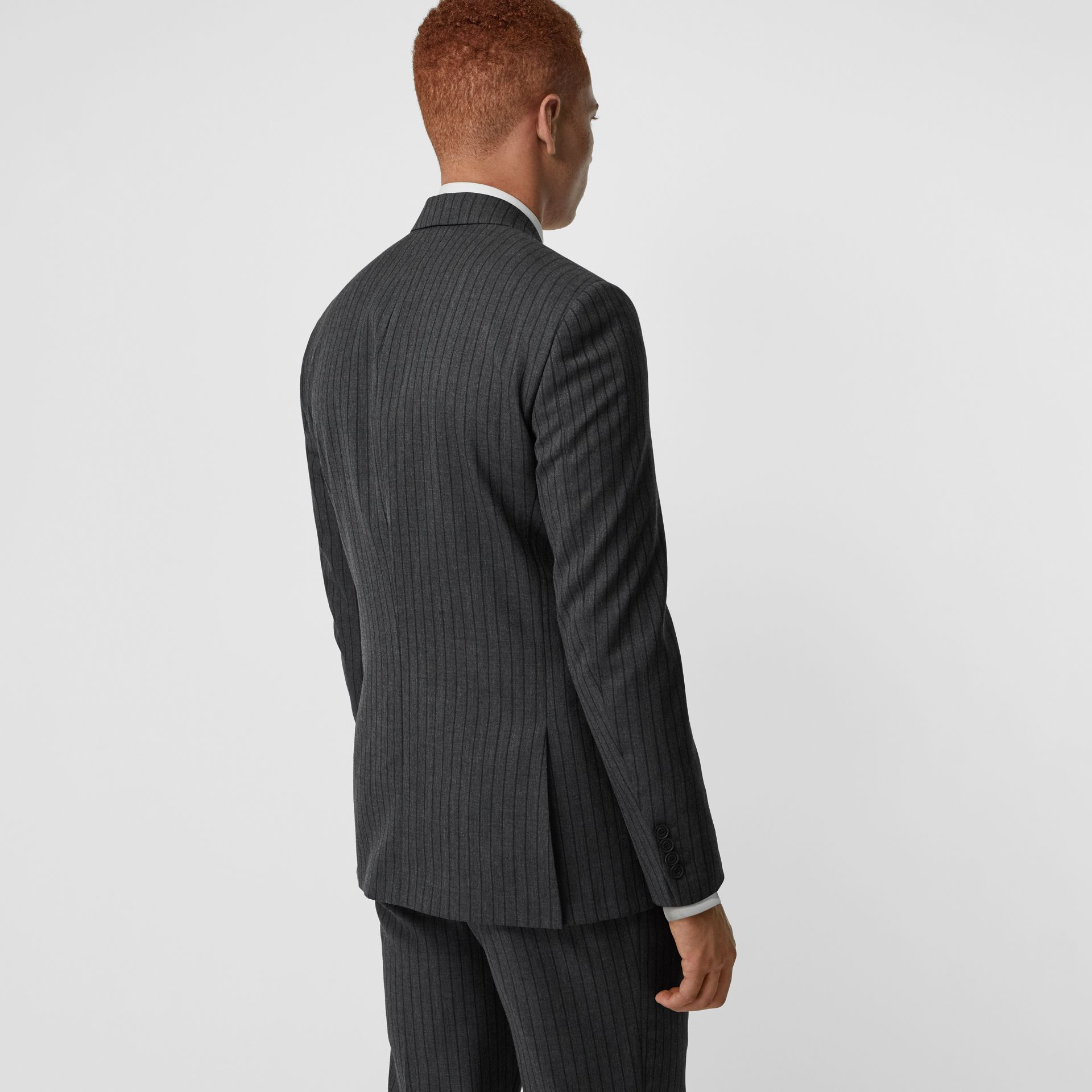Classic Fit Pinstriped Wool Tailored Jacket in Mid Grey Melange - Men | Burberry - gallery image 2