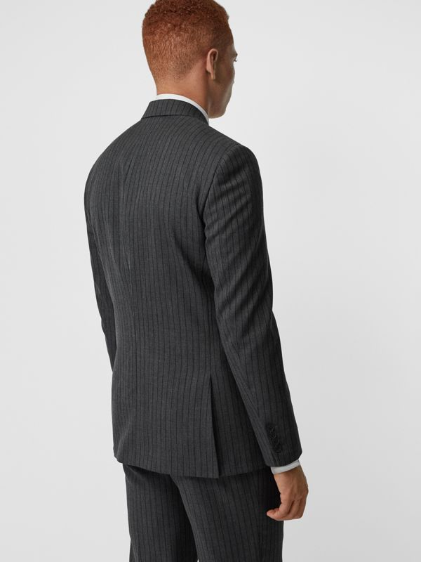 Classic Fit Pinstriped Wool Tailored Jacket in Mid Grey Melange - Men | Burberry - cell image 2