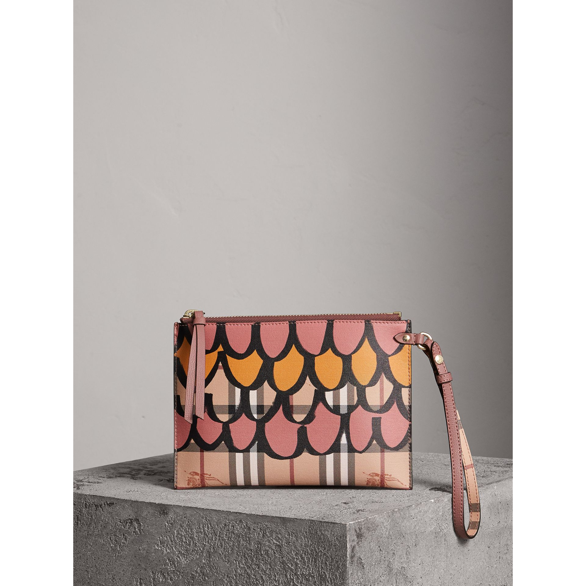 Trompe L'oeil Haymarket Check and Leather Pouch in Dusty Pink - Women | Burberry Australia - gallery image 1