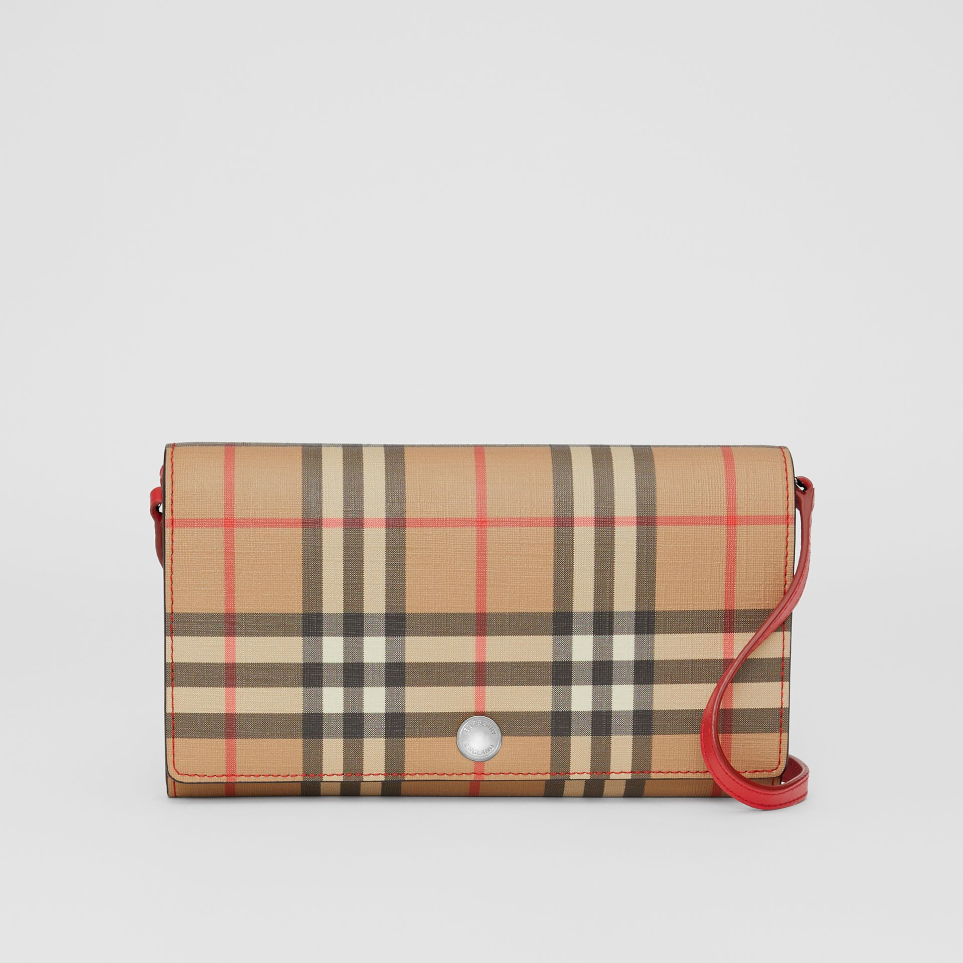 Vintage Check E-canvas Wallet with Detachable Strap in Bright Military Red - Women | Burberry - gallery image 0