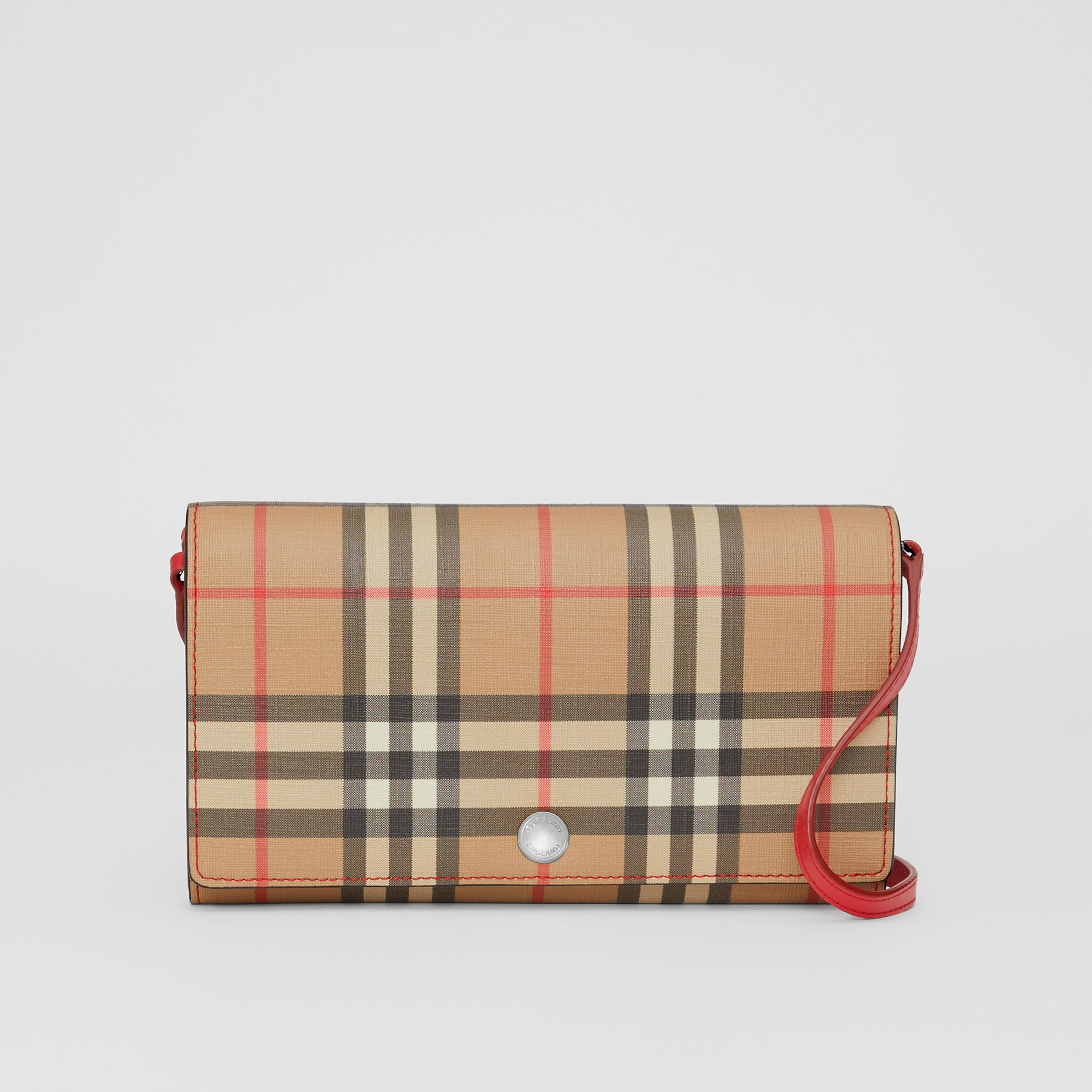 Vintage Check E-canvas Wallet with Detachable Strap in Bright Military Red - Women | Burberry - 1