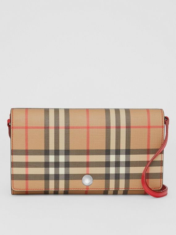 Vintage Check E-canvas Wallet with Detachable Strap in Bright Military Red