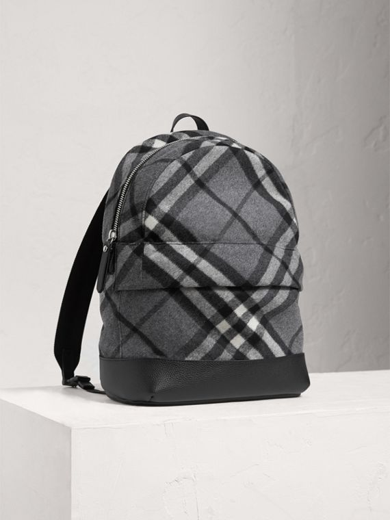 Check Wool Cashmere Blend Backpack in Dark Grey