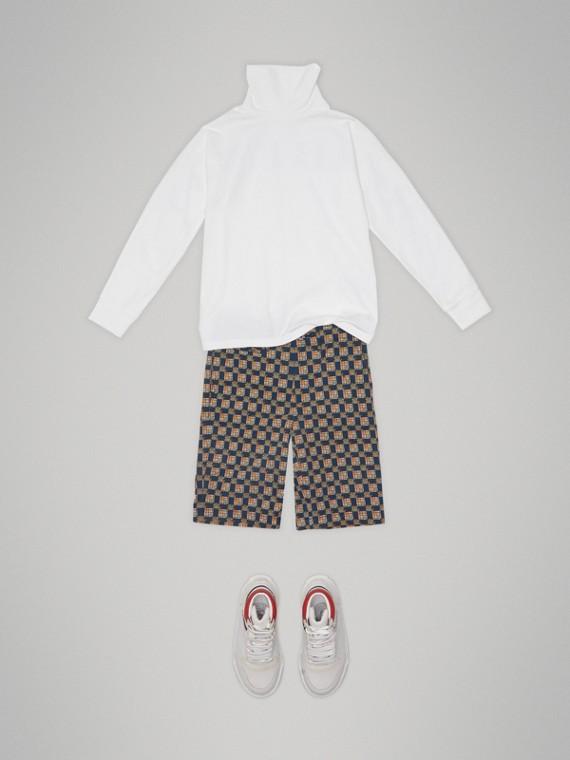 Haut à col roulé en coton extensible avec logo imprimé (Blanc) - Garçon | Burberry Canada - cell image 2