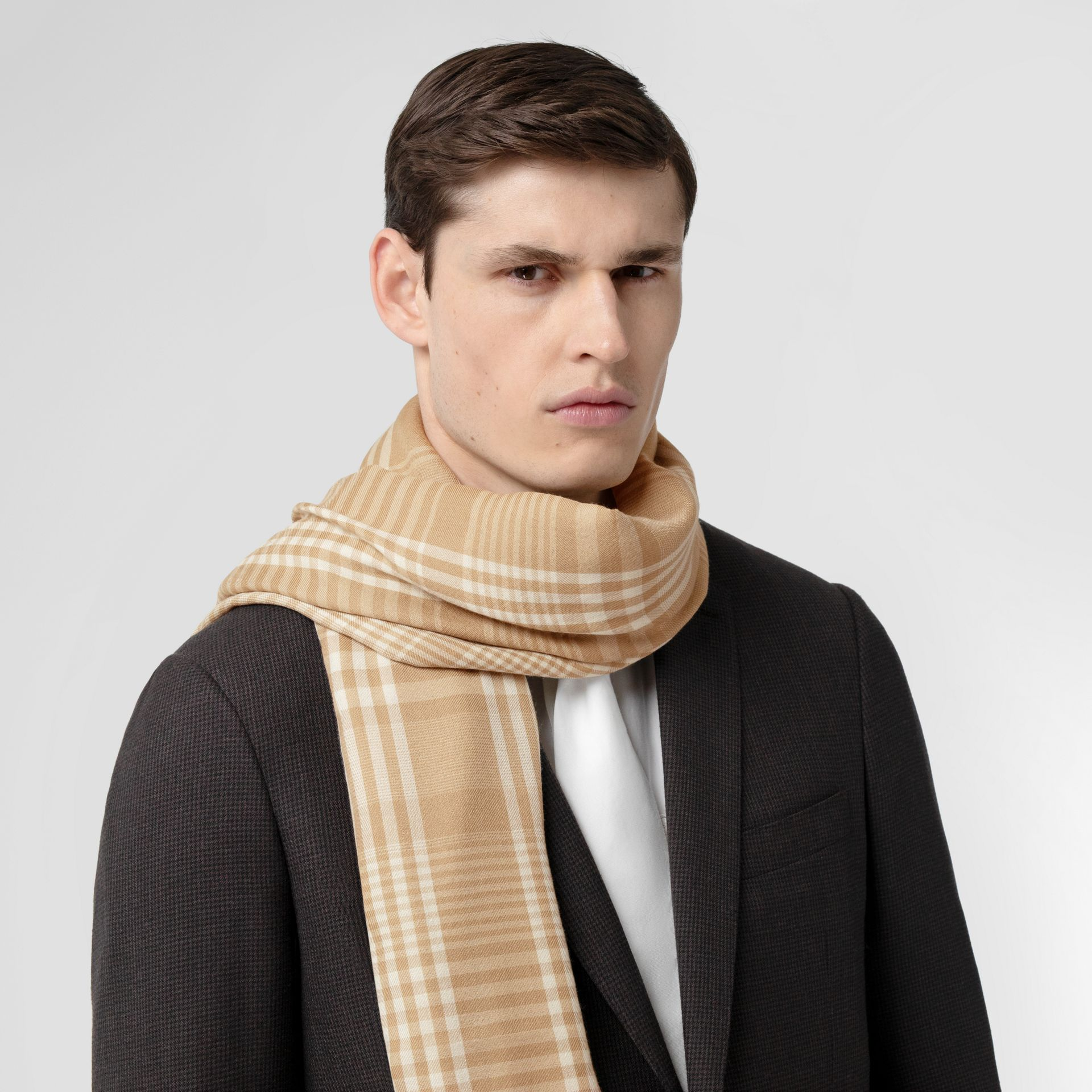 Logo Embroidered Lightweight Check Cashmere Scarf in Archive Beige/white | Burberry United Kingdom - gallery image 3