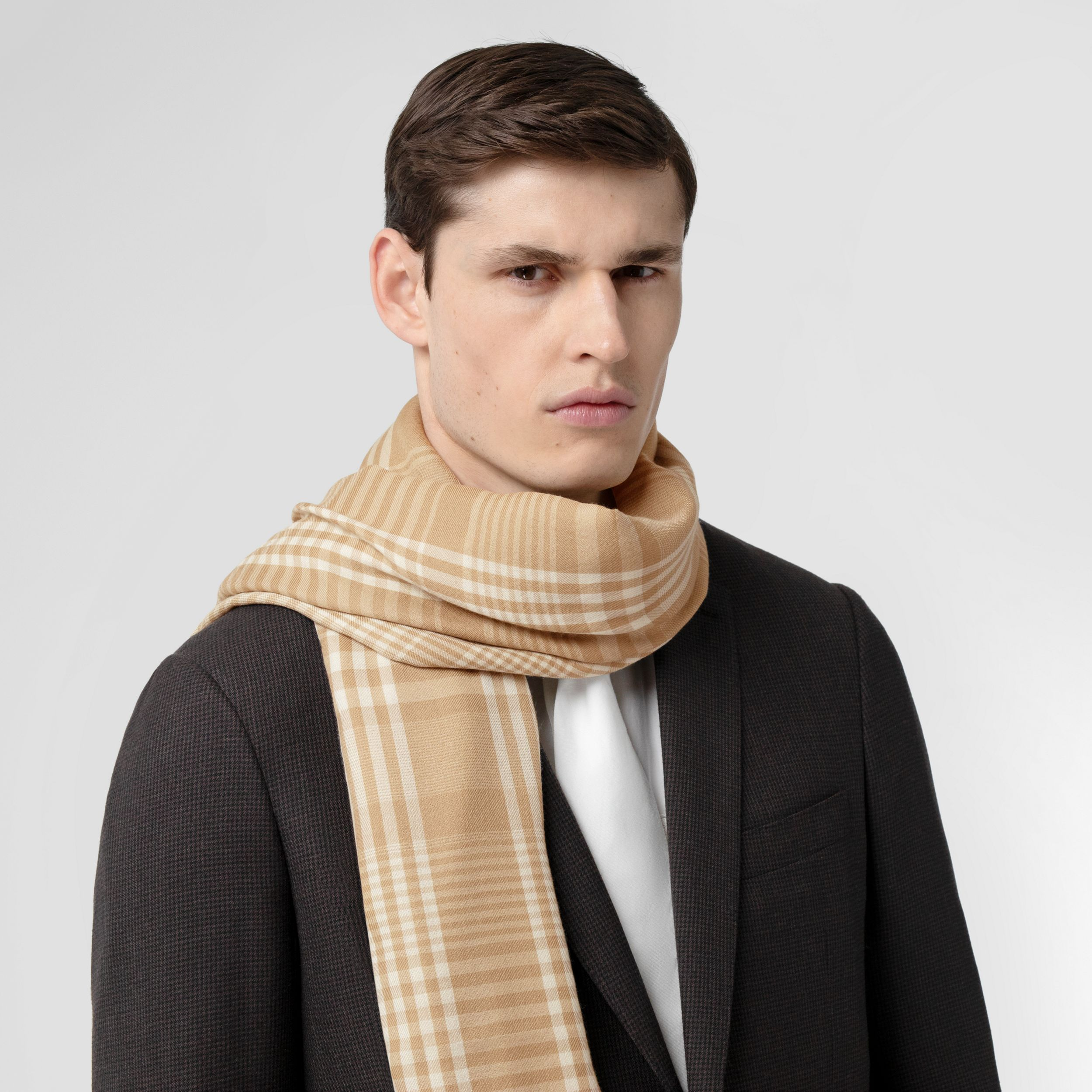 Logo Embroidered Lightweight Check Cashmere Scarf in Archive Beige/white | Burberry - 4