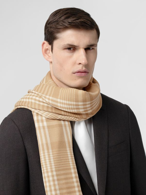 Logo Embroidered Lightweight Check Cashmere Scarf in Archive Beige/white | Burberry United Kingdom - cell image 3