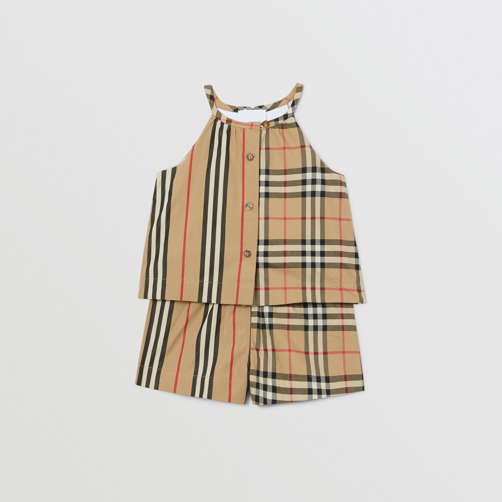 Vintage Check and Icon Stripe Cotton Playsuit in Archive Beige - Children | Burberry - gallery image 0