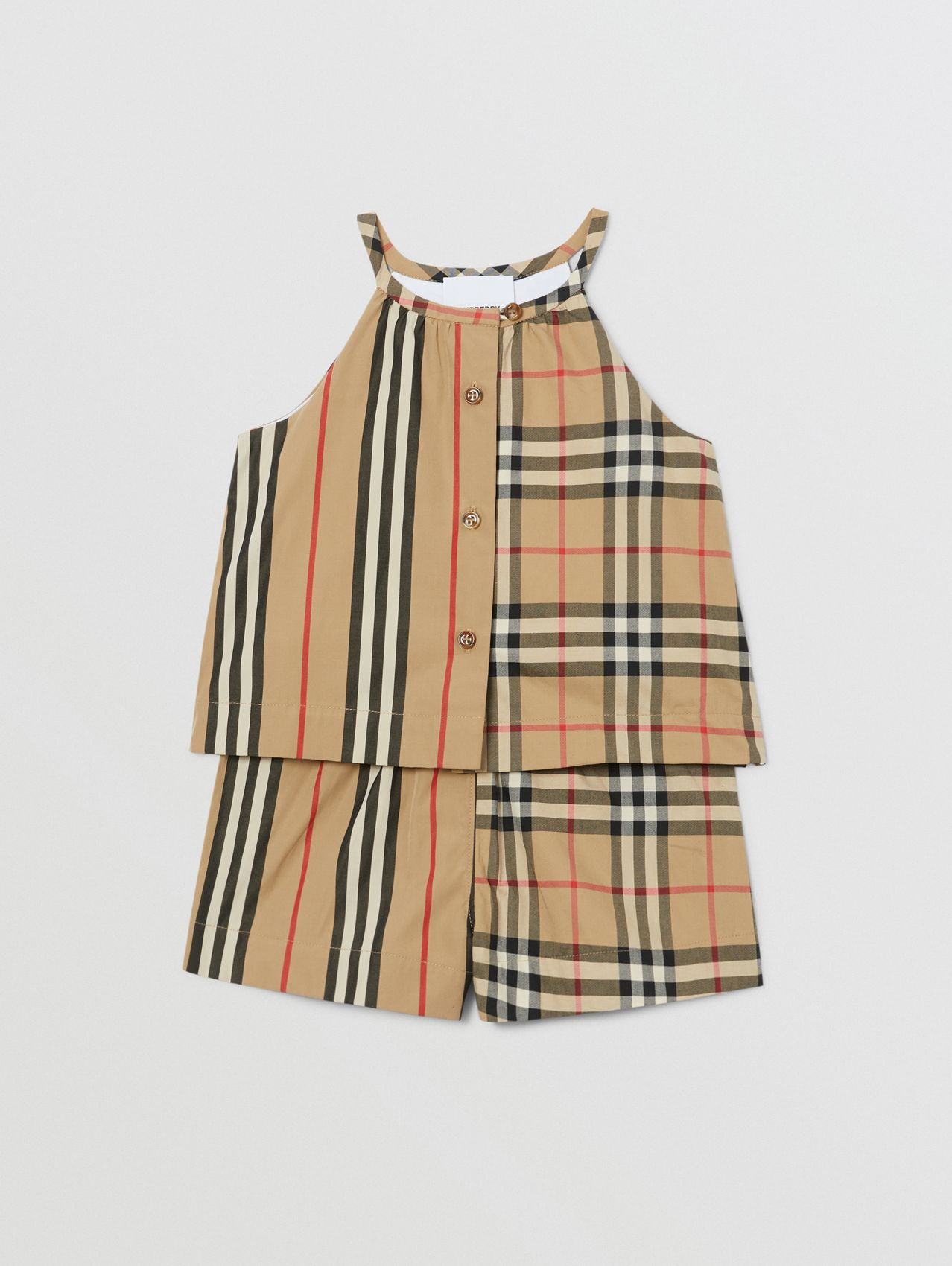 Vintage Check and Icon Stripe Cotton Playsuit in Archive Beige
