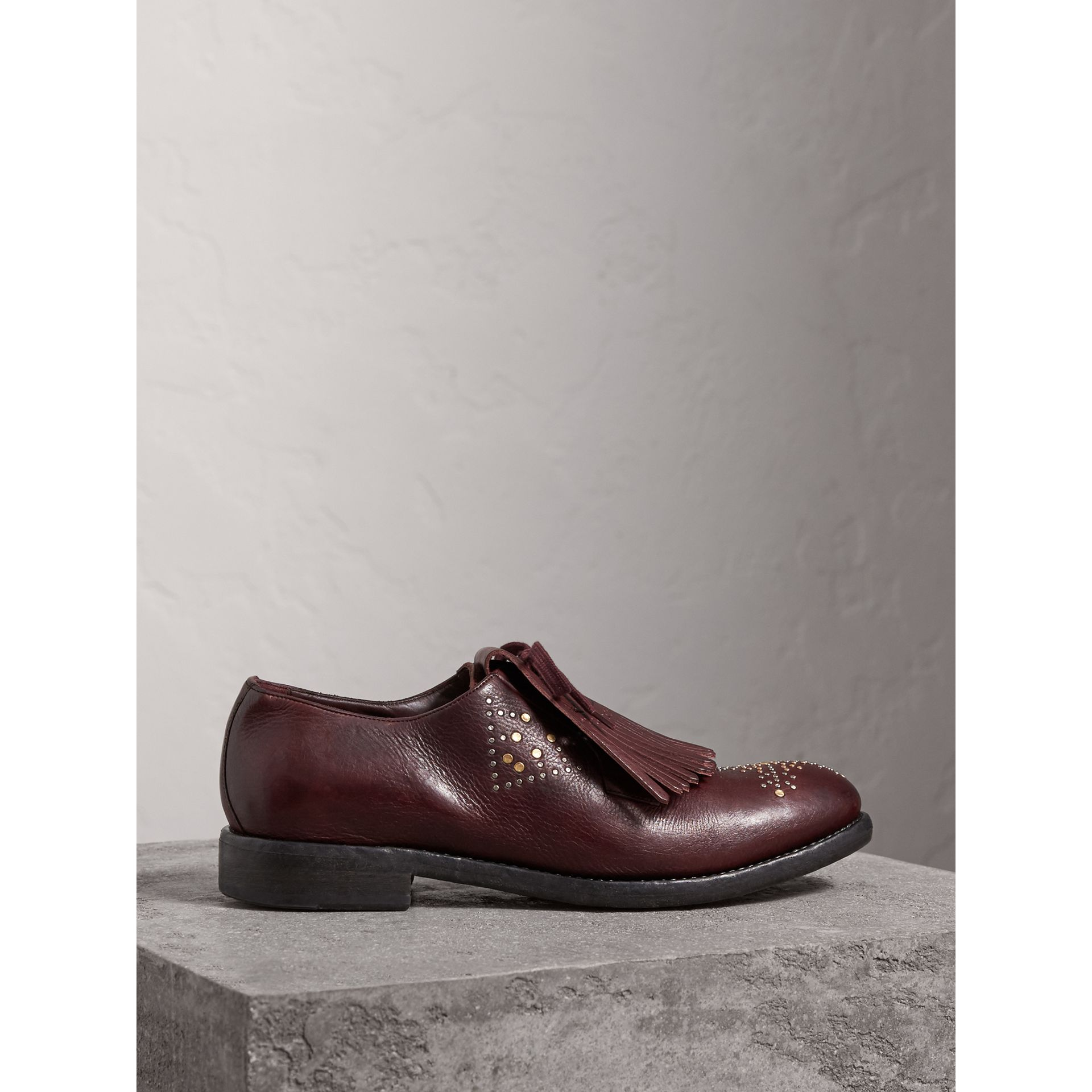 Lace-up Kiltie Fringe Riveted Leather Loafers in Cerise Purple - Men | Burberry - gallery image 4