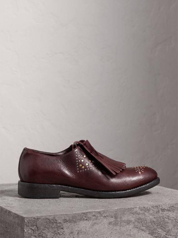 Lace-up Kiltie Fringe Riveted Leather Loafers in Cerise Purple - Men | Burberry - cell image 3