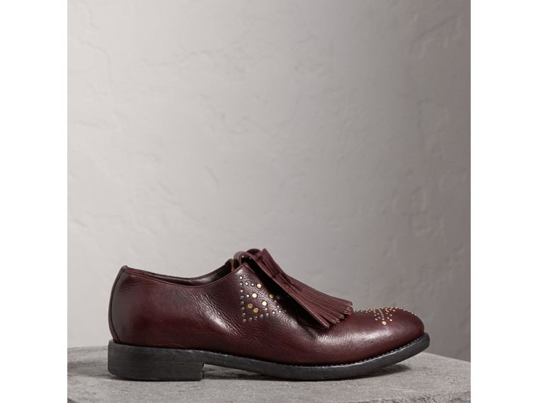 Lace-up Kiltie Fringe Riveted Leather Loafers in Cerise Purple - Men | Burberry - cell image 4