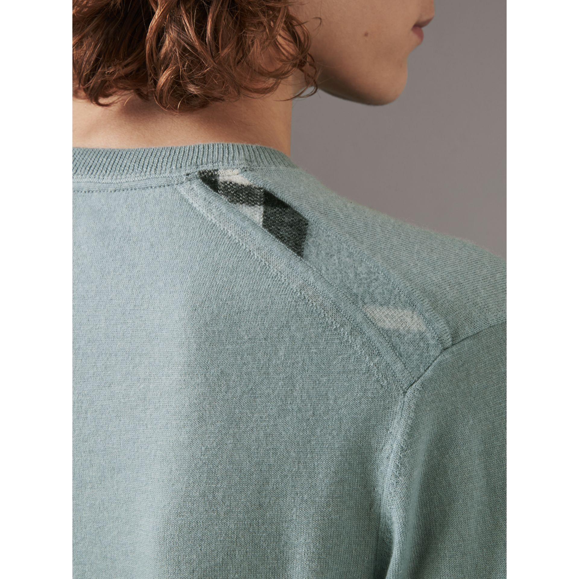 Check Jacquard Detail Cashmere Sweater in Grey Blue - Men | Burberry - gallery image 1