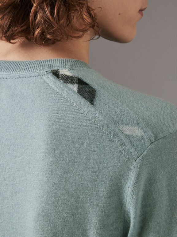 Check Jacquard Detail Cashmere Sweater in Grey Blue - Men | Burberry United Kingdom - cell image 1