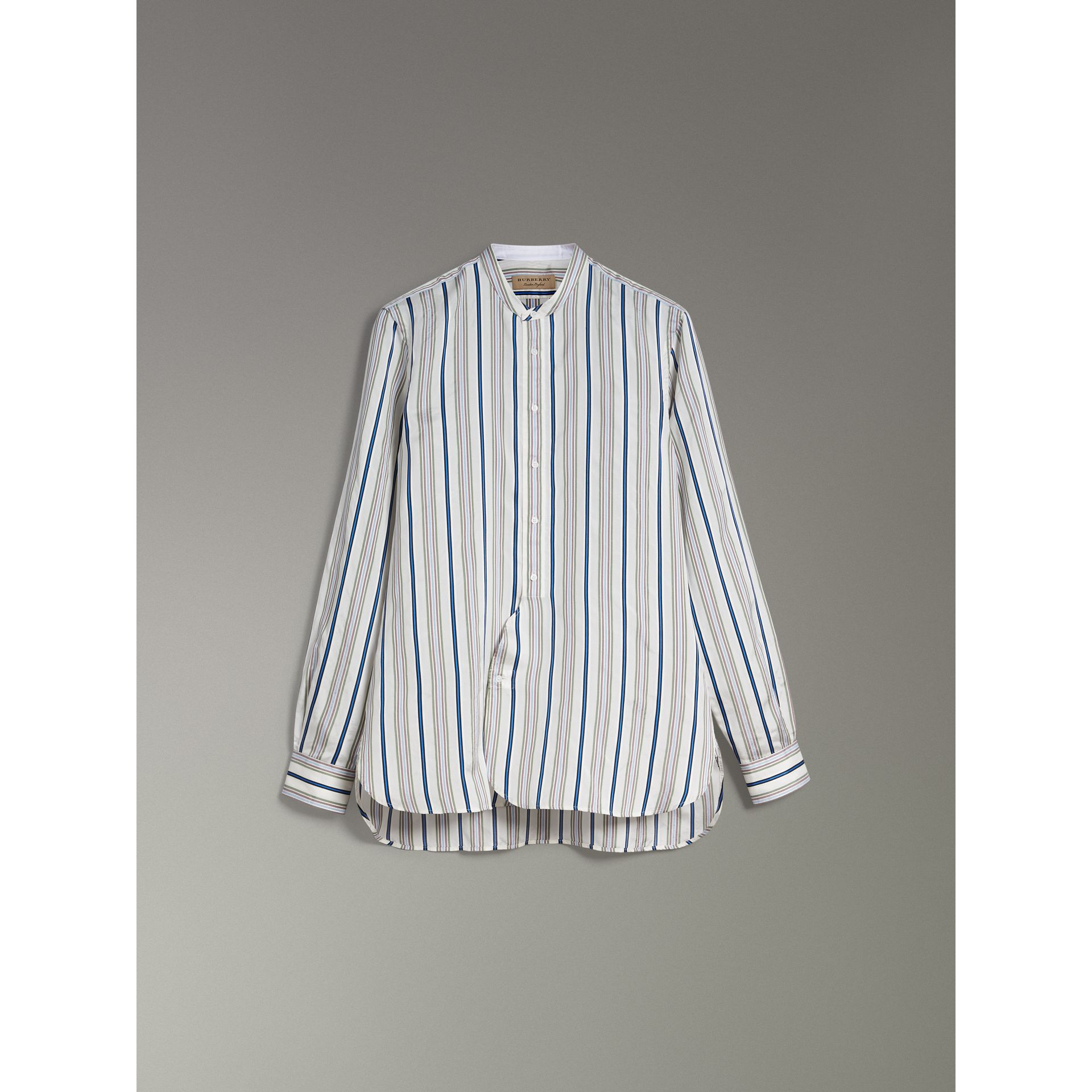 Grandad Collar Striped Silk Shirt in Off White - Men | Burberry United Kingdom - gallery image 3