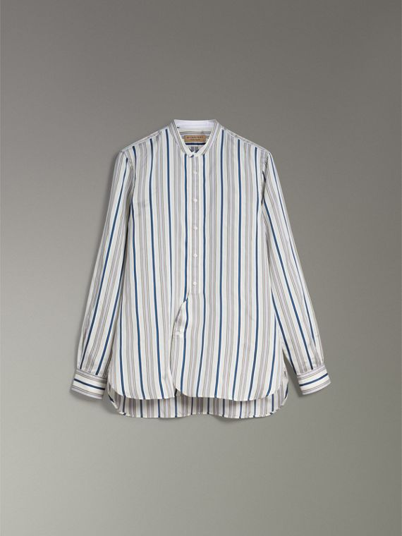 Grandad Collar Striped Silk Shirt in Off White - Men | Burberry Canada - cell image 3
