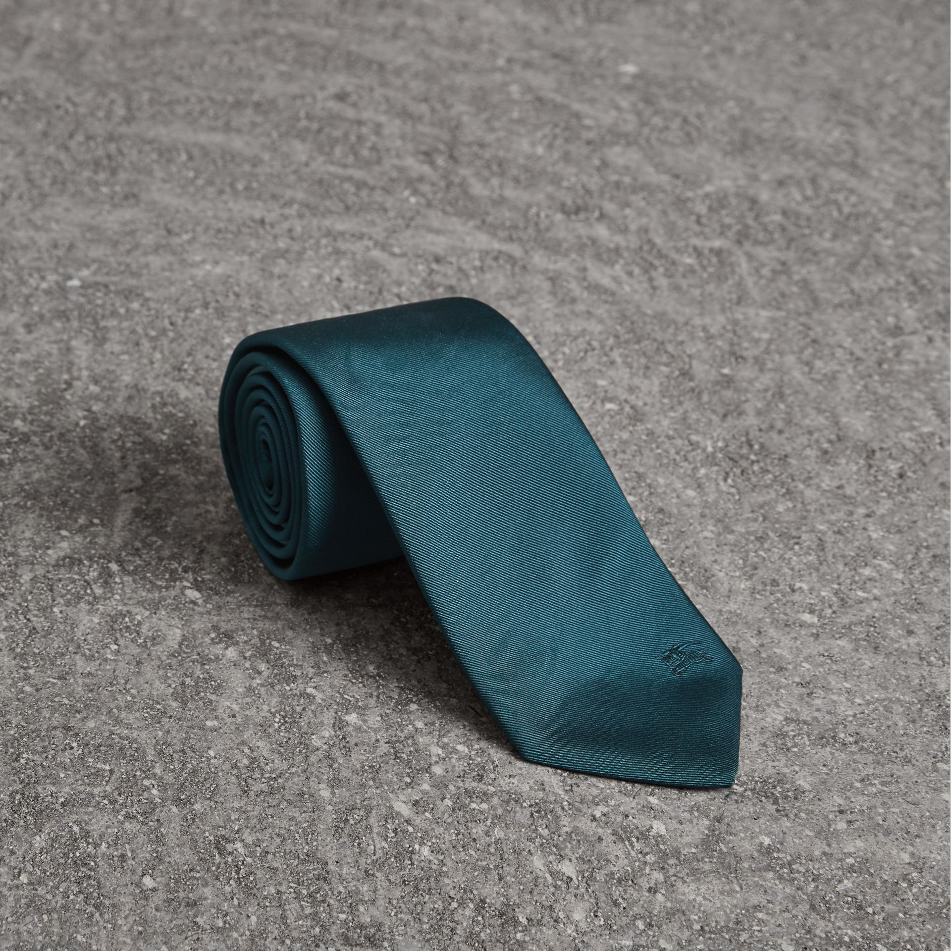 Modern Cut Check Detail Silk Tie in Mineral Blue - Men | Burberry - gallery image 0