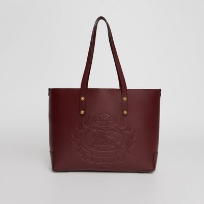 Small Embossed Crest Leather Tote by Burberry