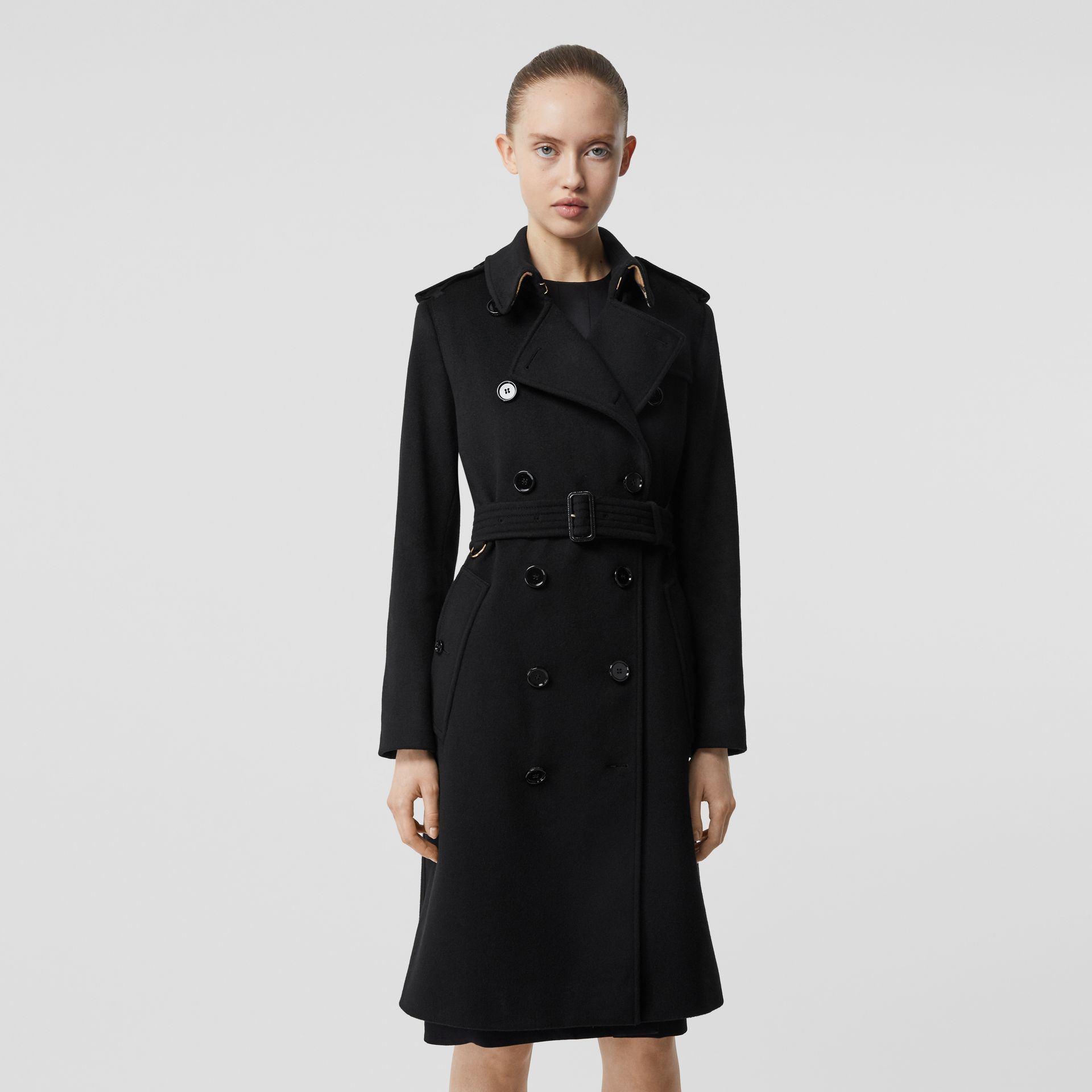 Cashmere Trench Coat in Black - Women | Burberry - gallery image 0