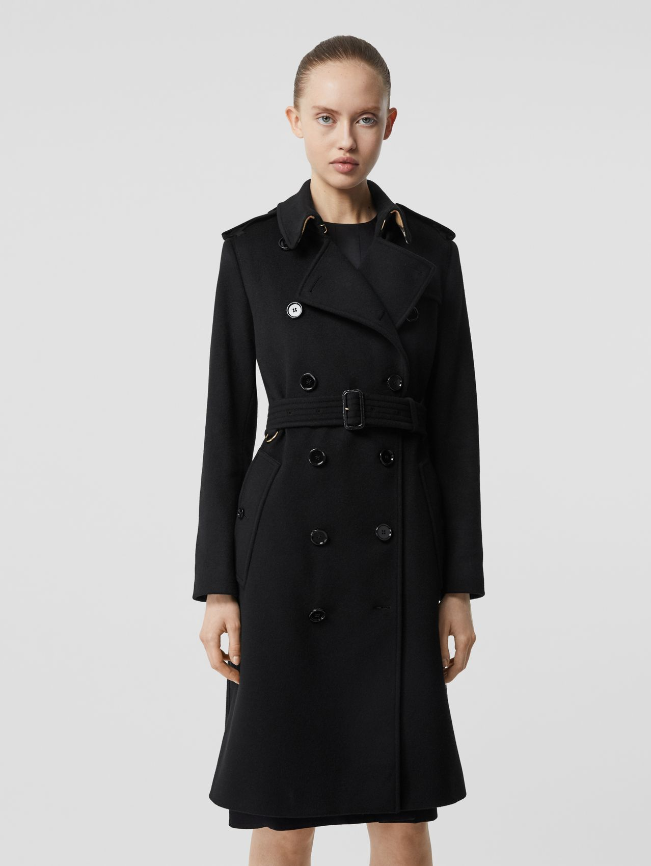 Trench coat de cashmere in Preto