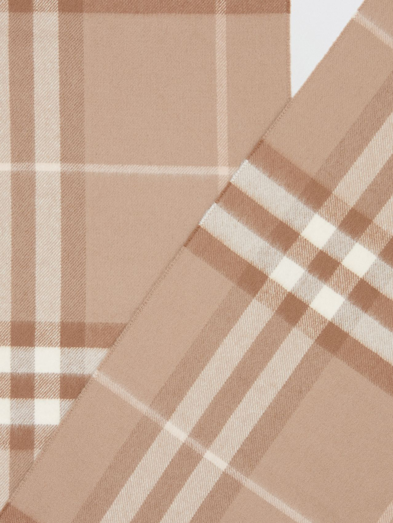 The Classic Check Cashmere Scarf in Warm Taupe