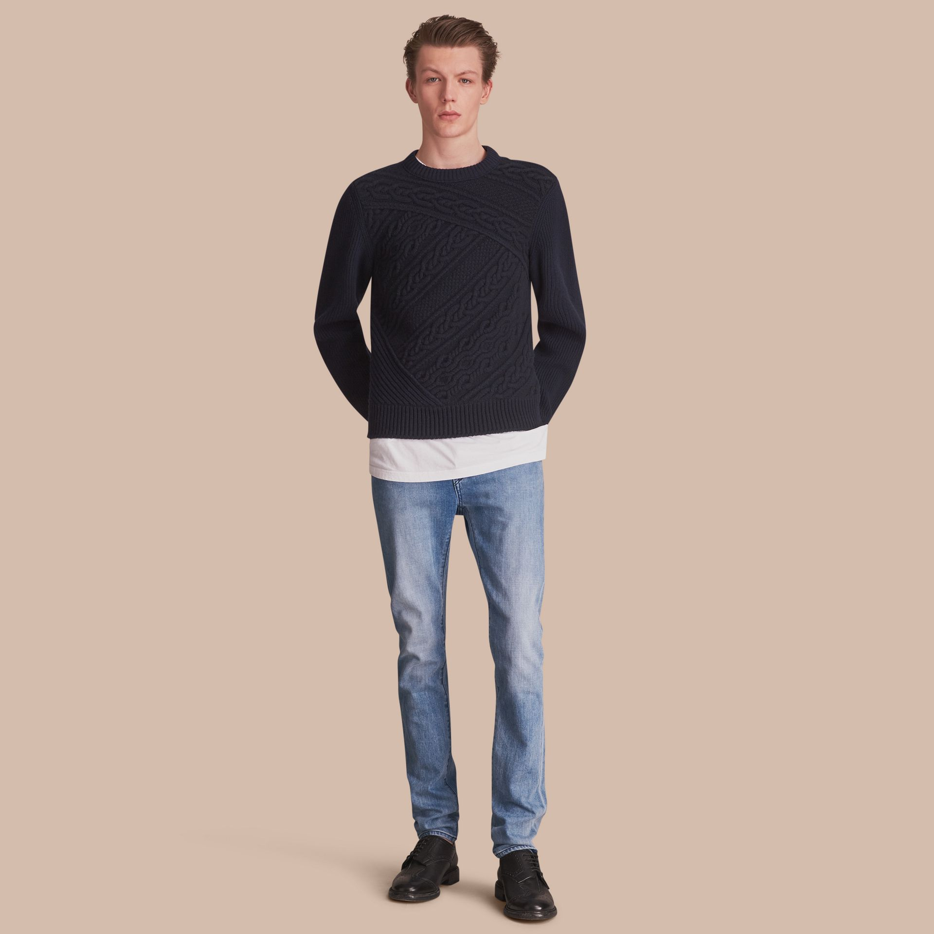 Skinny Fit Brushed Stretch Denim Jeans in Light Indigo Blue - Men | Burberry United Kingdom - gallery image 0