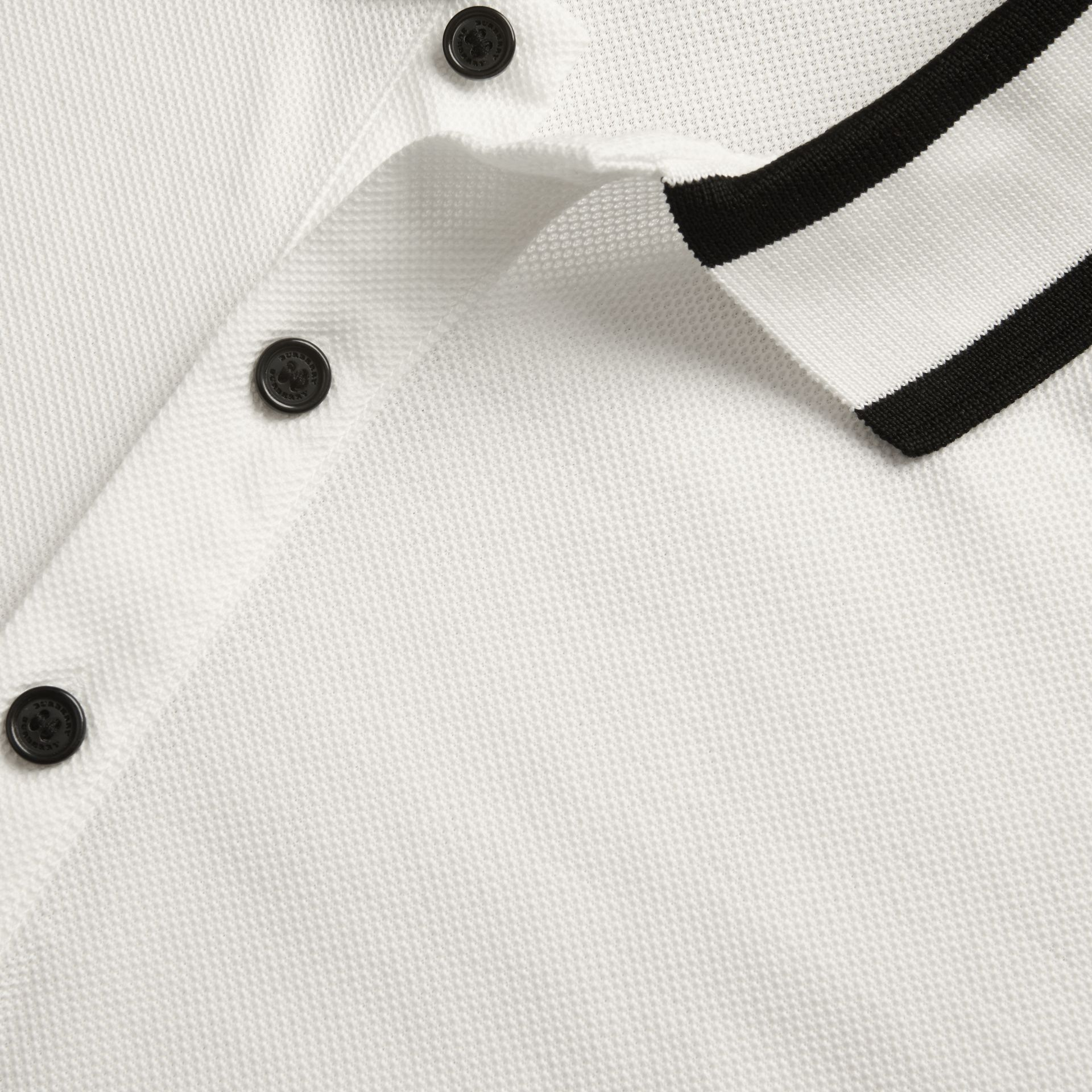 White Striped Collar Cotton Piqué Polo Shirt White - gallery image 2