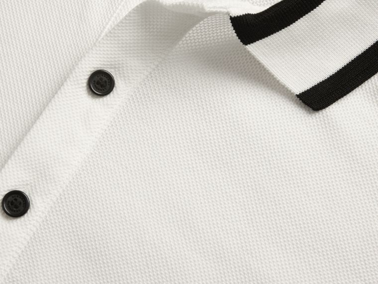 White Striped Collar Cotton Piqué Polo Shirt White - cell image 1
