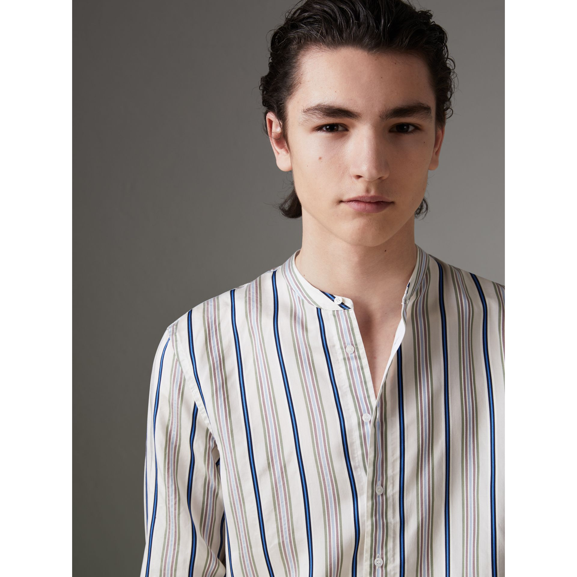 Grandad Collar Striped Silk Shirt in Off White - Men | Burberry - gallery image 1
