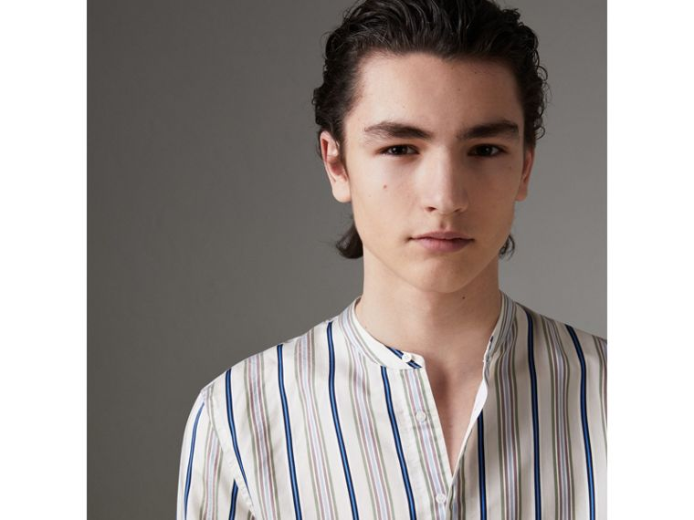 Grandad Collar Striped Silk Shirt in Off White - Men | Burberry Canada - cell image 1