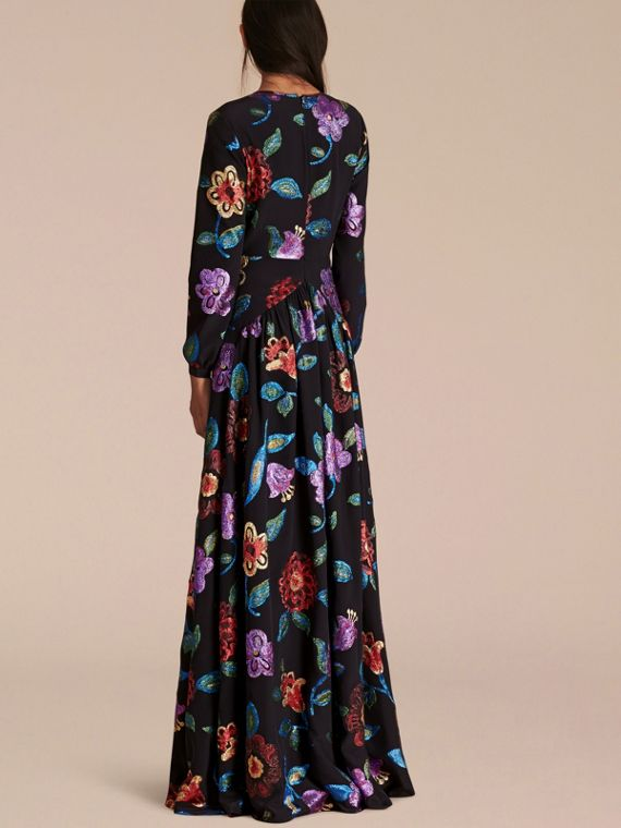 Navy Floral Fil Coupé Silk Gown - cell image 2