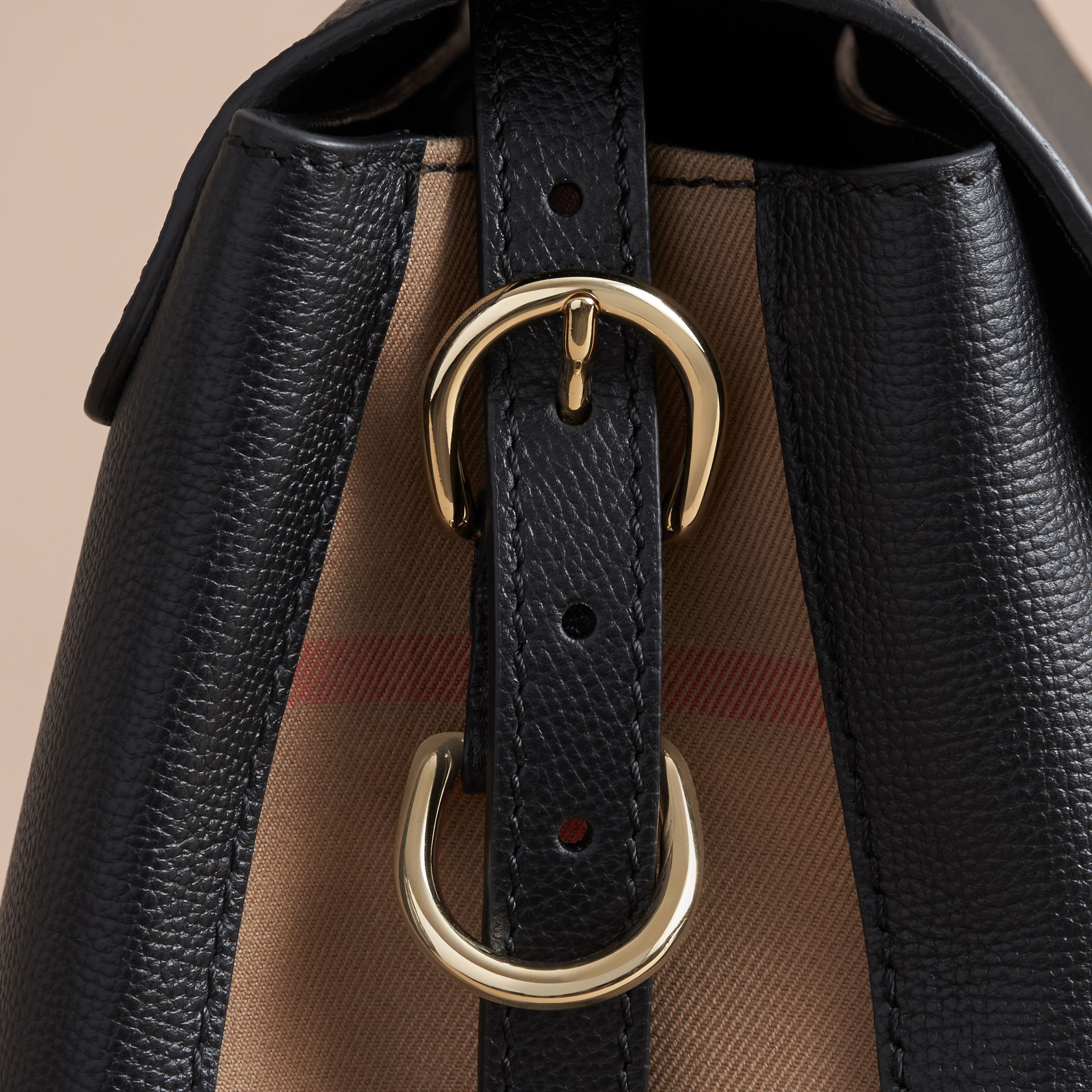 Medium Grainy Leather and House Check Tote Bag in Black - Women | Burberry - gallery image 7