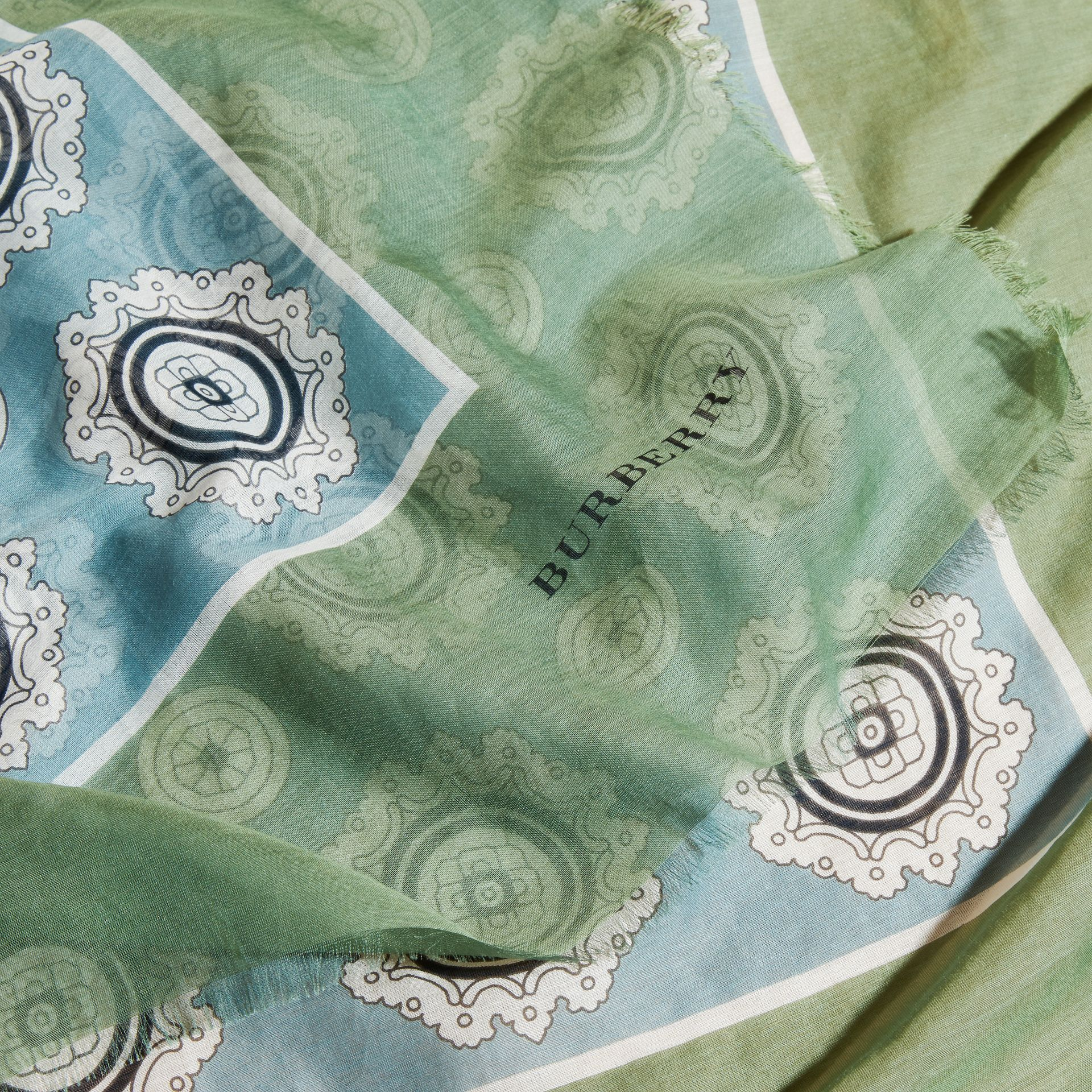 Pyjama Print Cotton Silk Scarf in Pale Stone Blue - gallery image 2