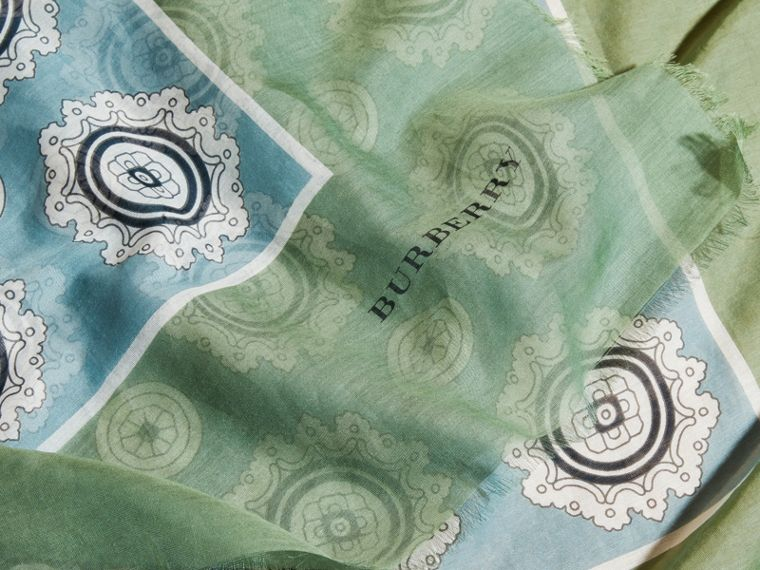 Pyjama Print Cotton Silk Scarf in Pale Stone Blue - cell image 1