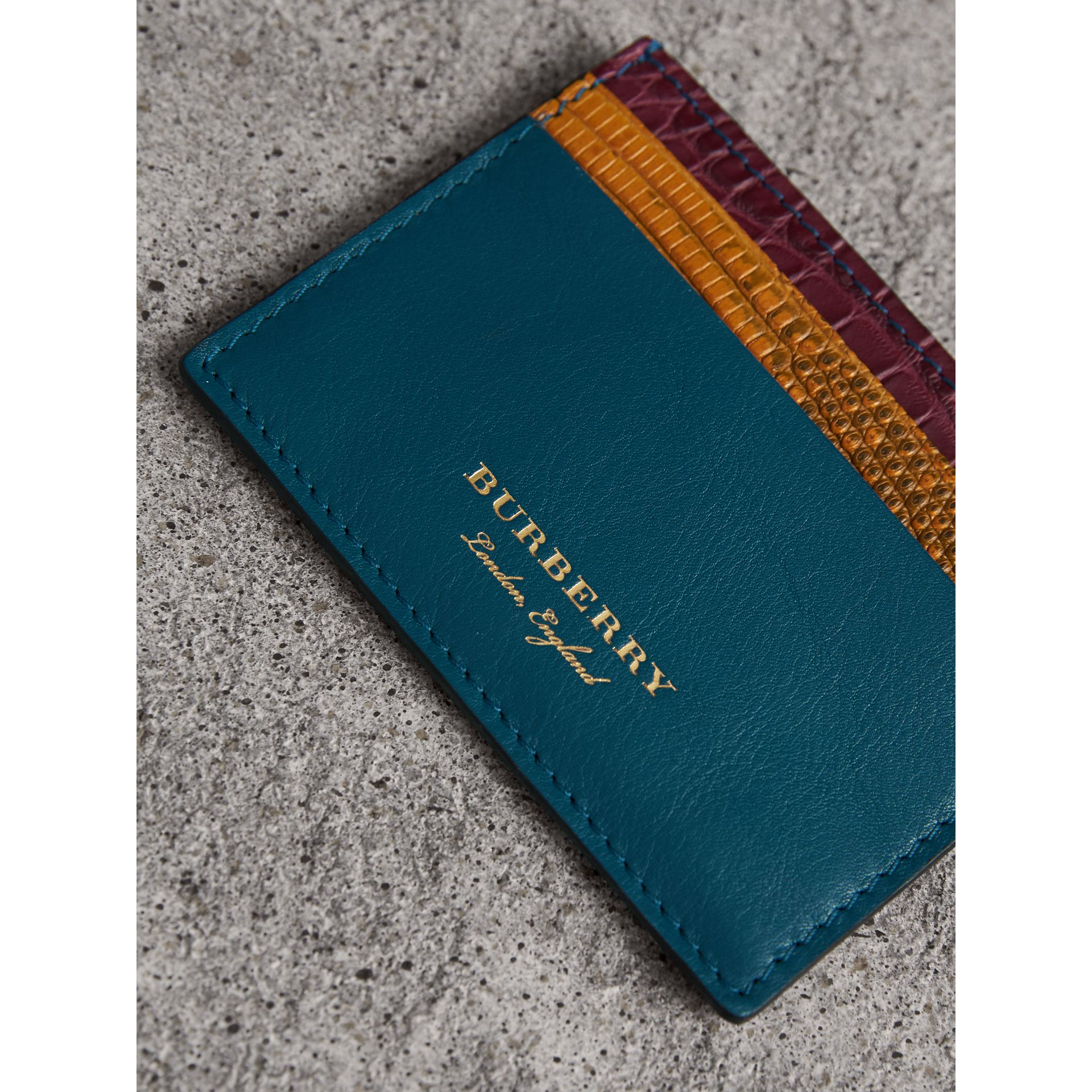 Leather, Lizard and Alligator Card Case in Nickel Blue - Men | Burberry - gallery image 1