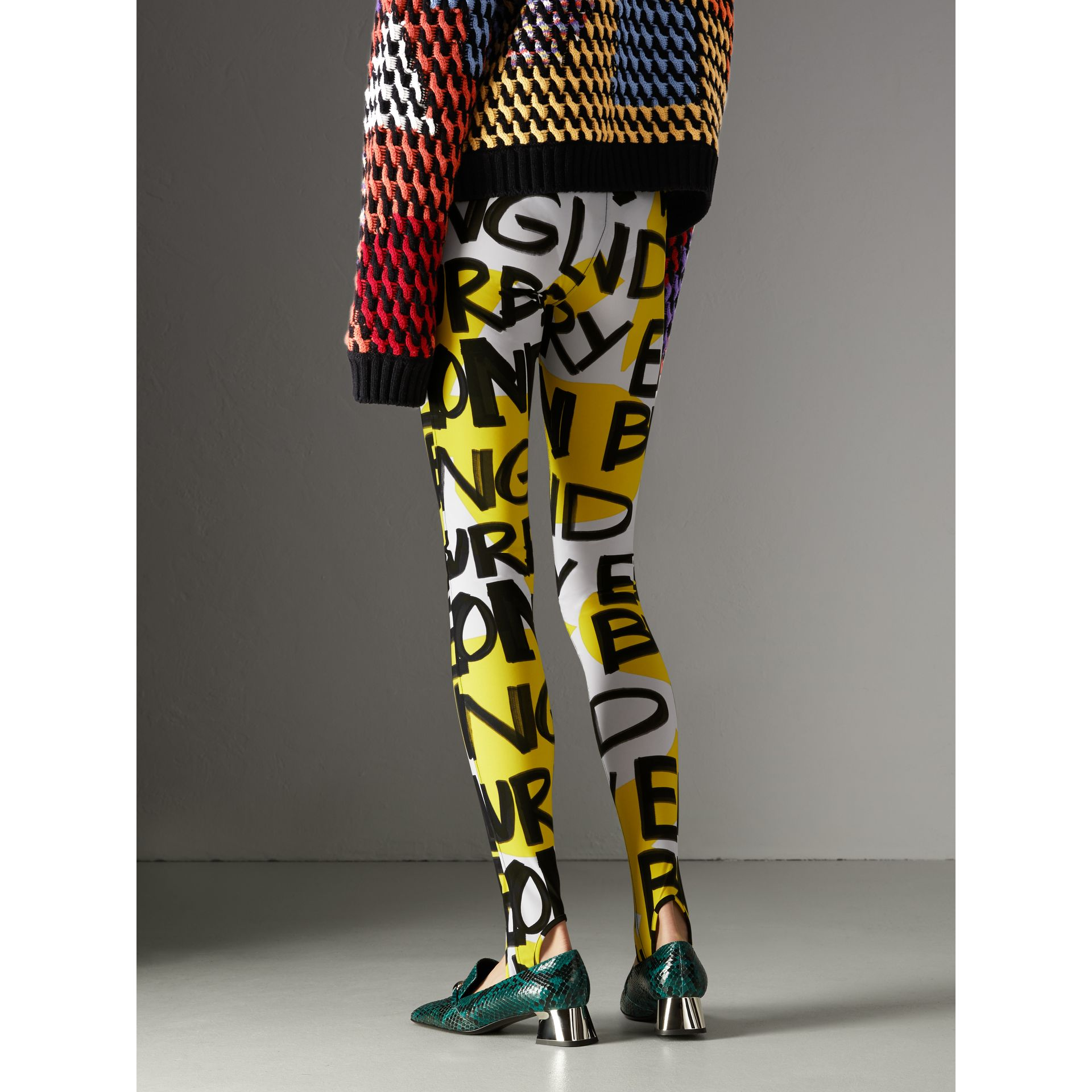 Graffiti Print Leggings in Bright Yellow - Women | Burberry - gallery image 2