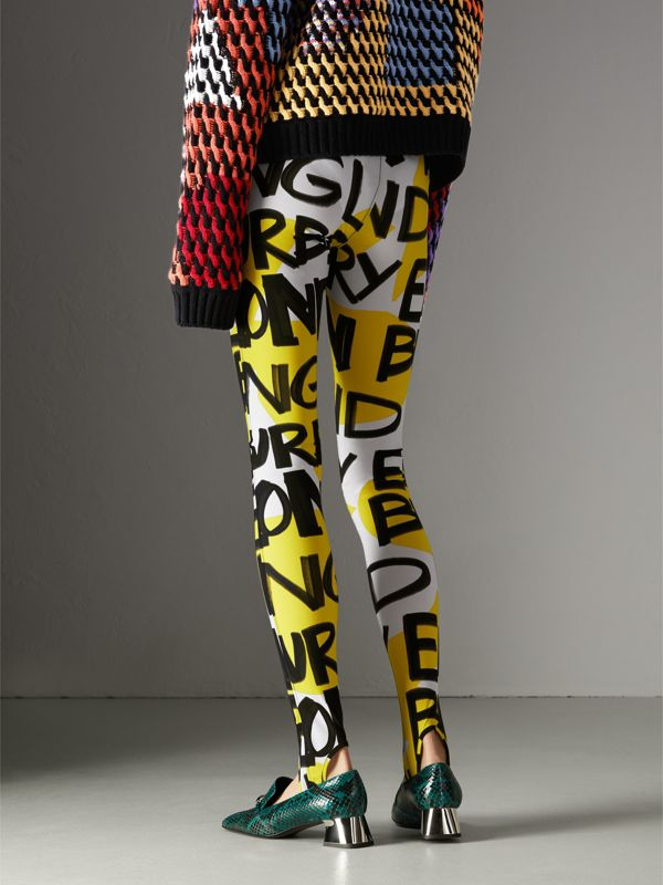 Graffiti Print Leggings in Bright Yellow - Women | Burberry - cell image 2