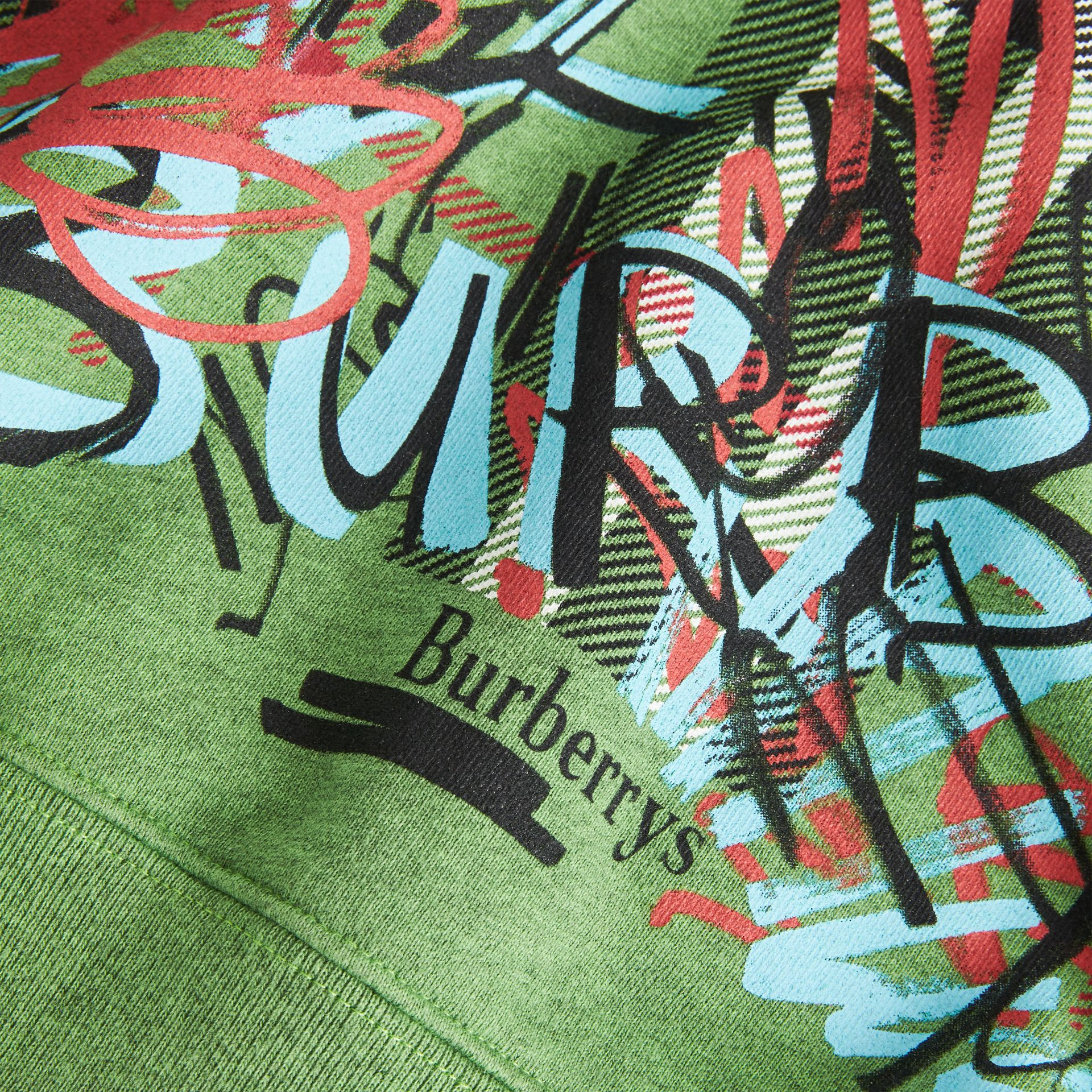 Graffiti Scribble Check Print Cotton Dress in Lime Green | Burberry United Kingdom - gallery image 1