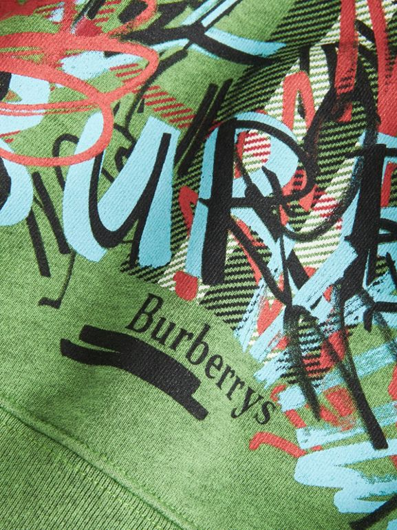 Graffiti Scribble Check Print Cotton Dress in Lime Green | Burberry United Kingdom - cell image 1