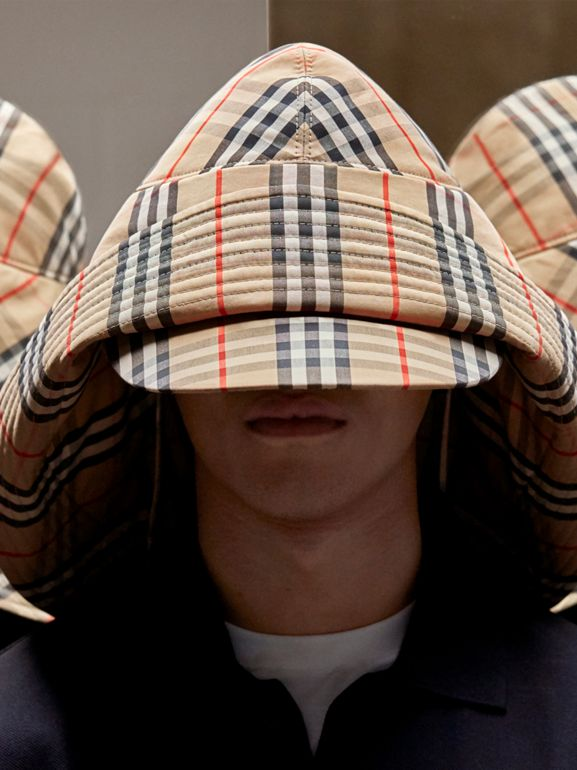 Vintage Check Rain Hat in Archive Beige - Men | Burberry - cell image 1