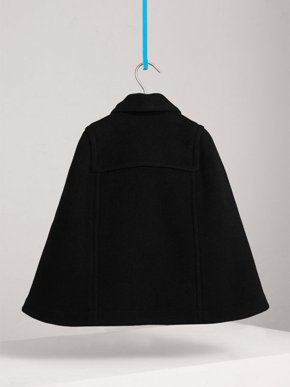 Wool Blend Duffle Cape in Black | Burberry Australia - cell image 3
