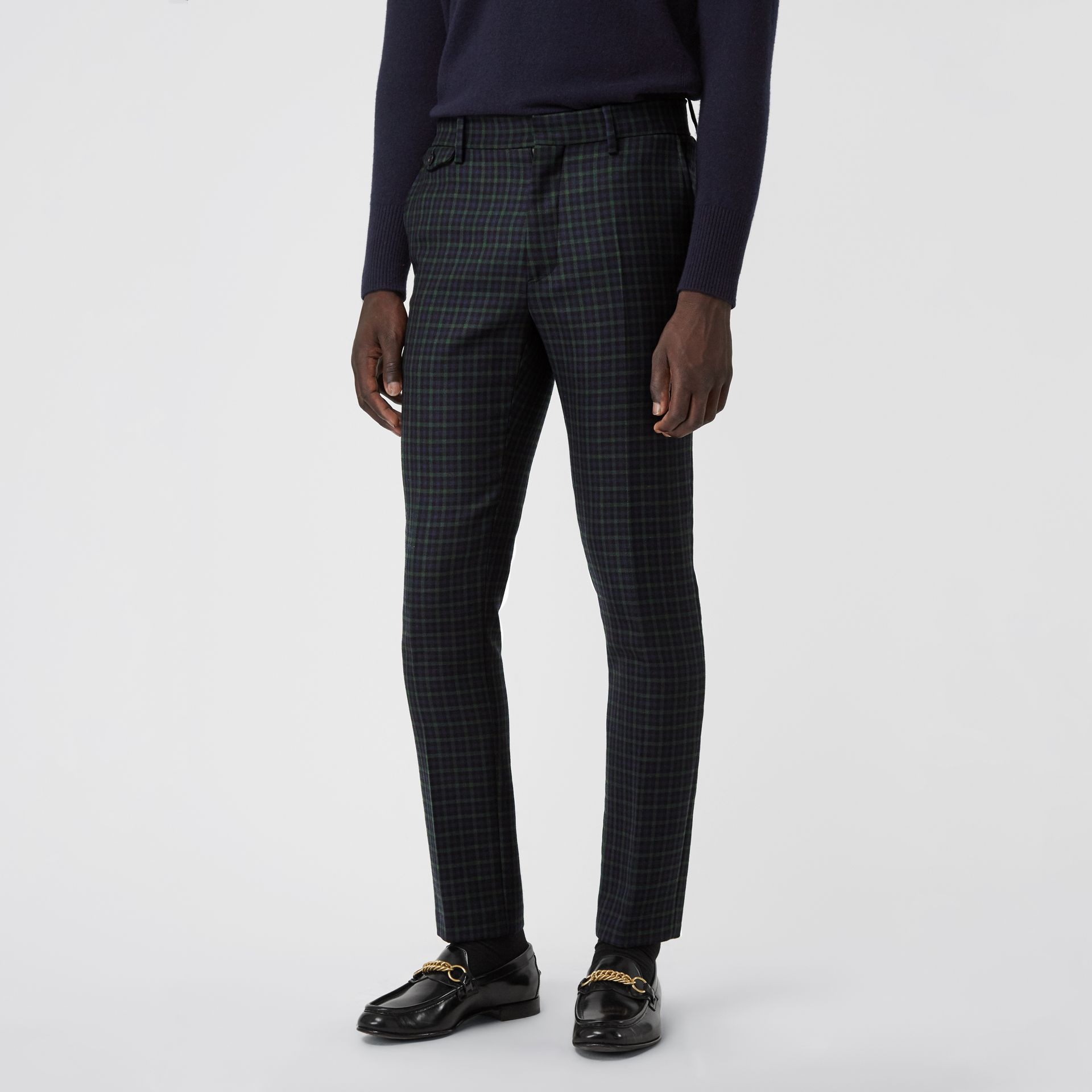 Slim Fit Tartan Wool Tailored Trousers in Navy - Men | Burberry - gallery image 4