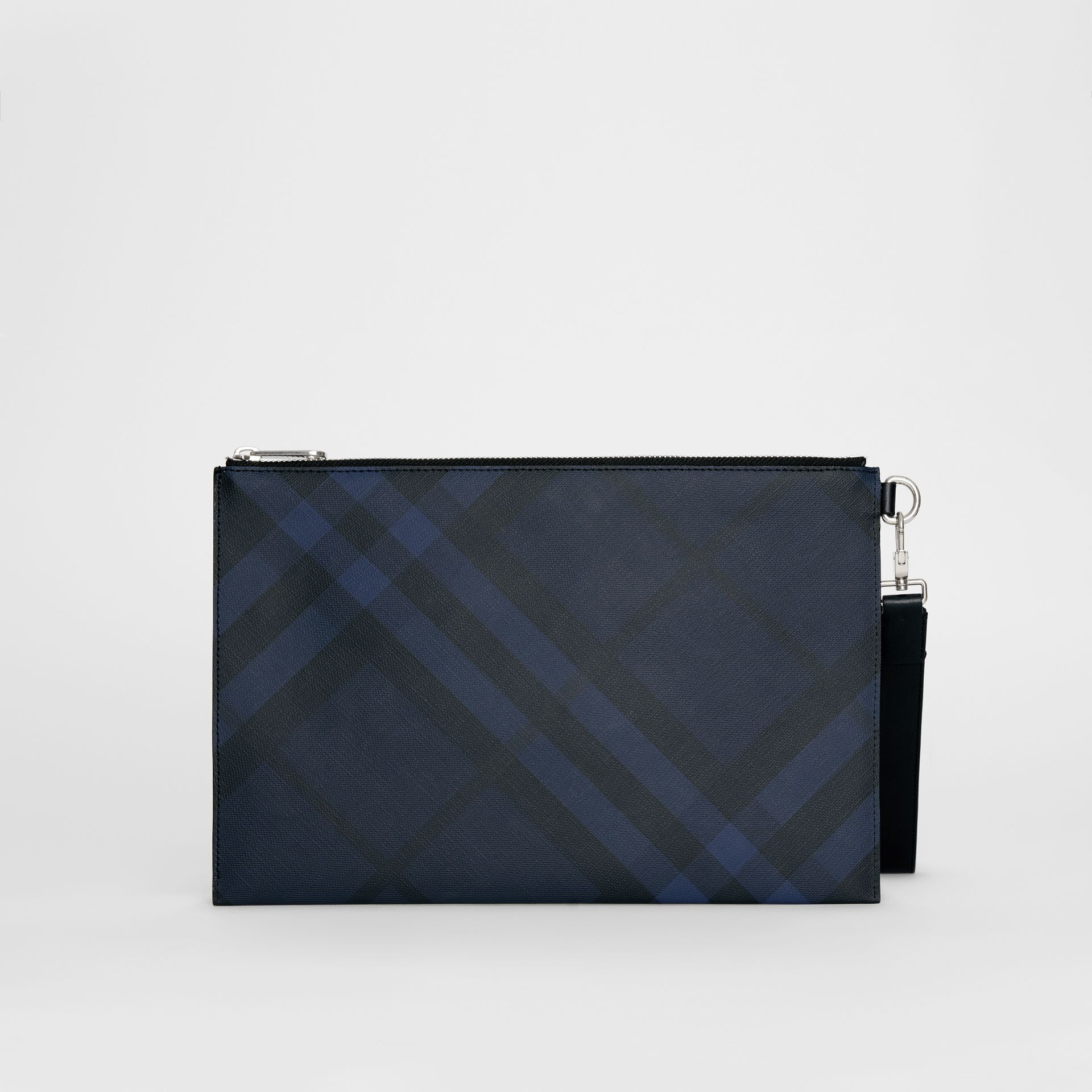 London Check Zip Pouch in Navy/black - Men | Burberry United Kingdom - gallery image 7