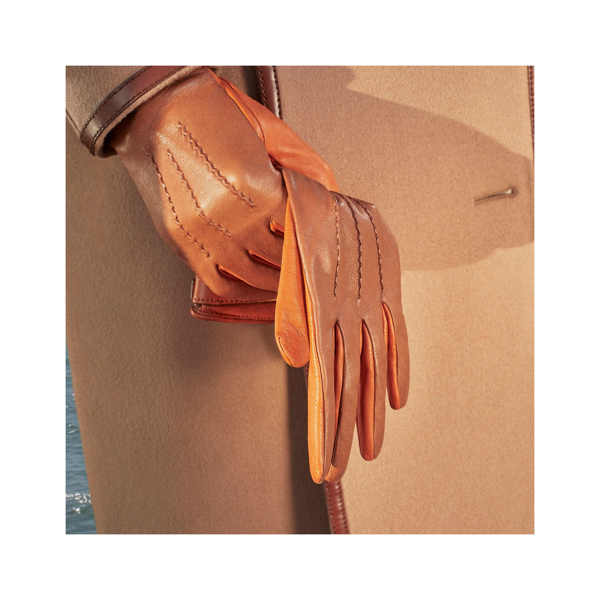 Silk-lined Two-tone Lambskin Gloves in Brown | Burberry - gallery image 3
