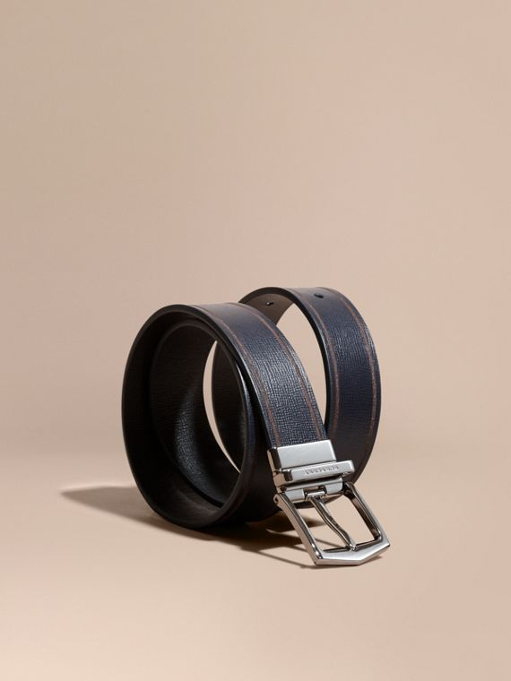 Reversible Border Detail London Leather Belt Dark Navy/black