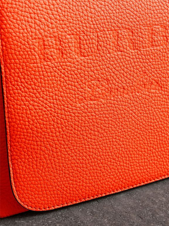 Large Embossed Leather Messenger Bag in Neon Orange | Burberry - cell image 1