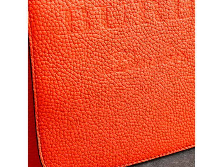 Large Embossed Leather Messenger Bag in Neon Orange | Burberry United States - cell image 1