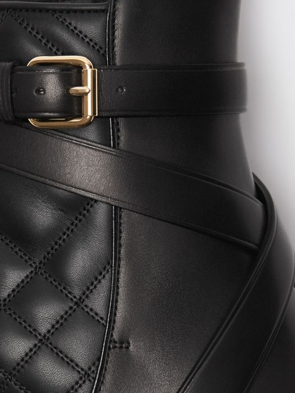Bottines en cuir matelassé avec sangle (Noir) - Femme | Burberry Canada - cell image 1