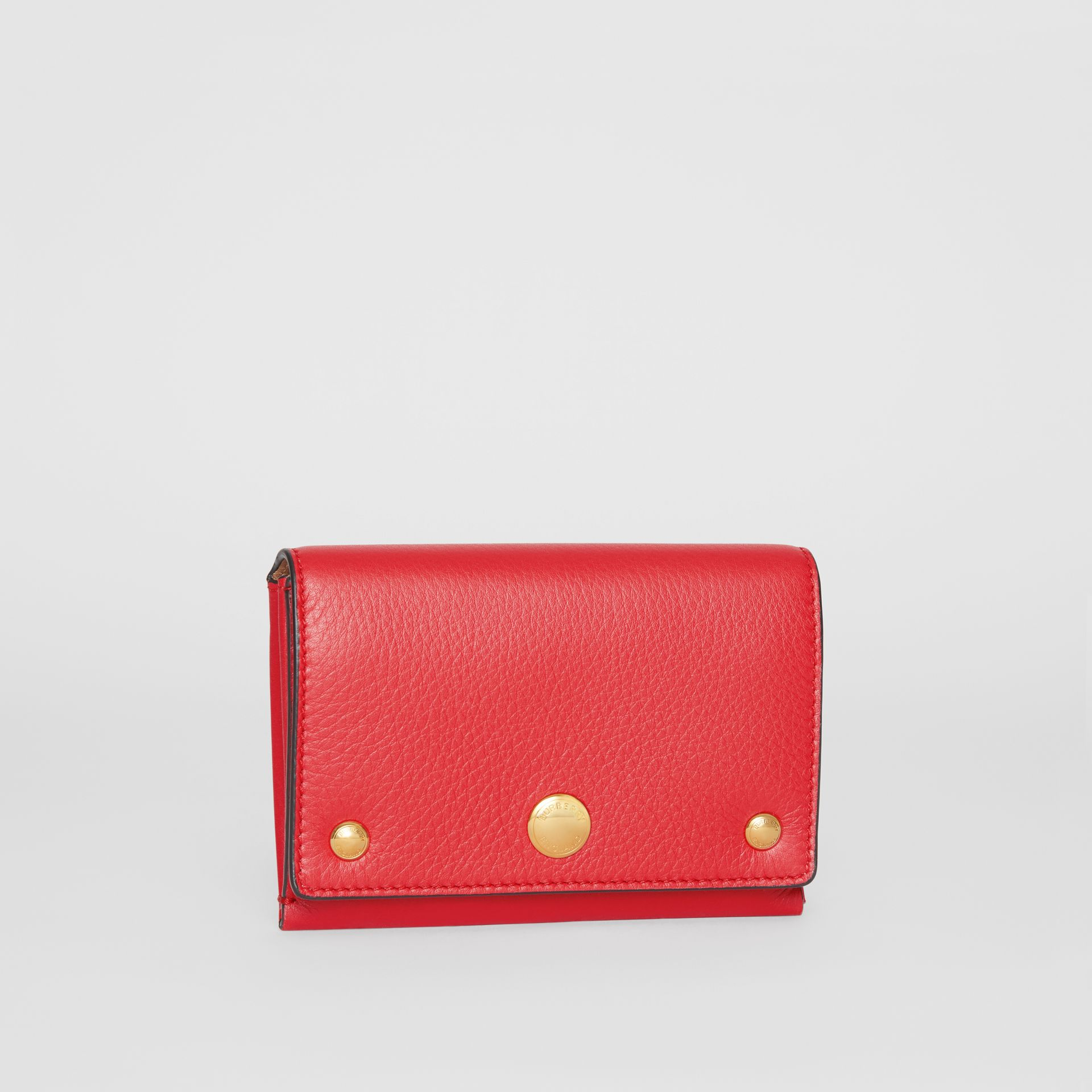 Triple Stud Leather Folding Wallet in Bright Military Red - Women | Burberry - gallery image 3
