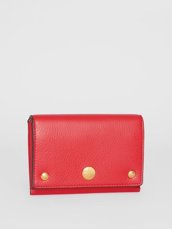 Triple Stud Leather Folding Wallet in Bright Military Red - Women | Burberry - cell image 3